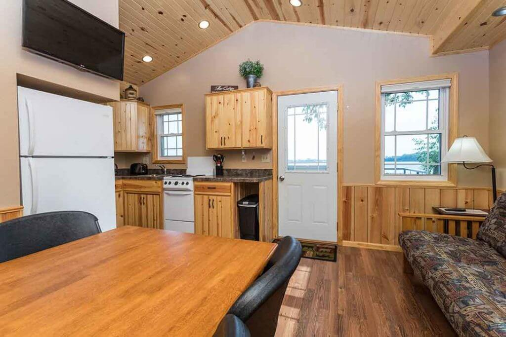Barrett Lake Resort and Campground cabin rental interiors
