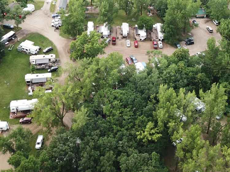 Aerial view of Barrett Lake Resort and Campground